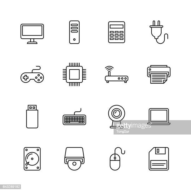 computer icons - line - floppy disk stock illustrations, clip art, cartoons, & icons