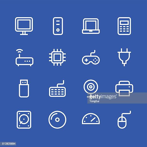computer icons - line - white series - power supply box stock illustrations, clip art, cartoons, & icons