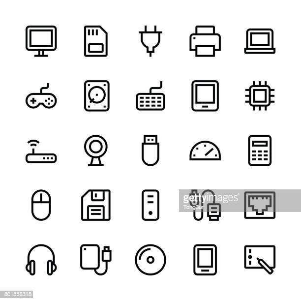 ilustraciones, imágenes clip art, dibujos animados e iconos de stock de iconos de computadora - línea media - usb cable