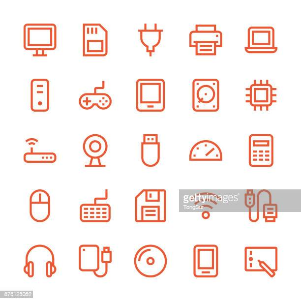 computer icons - mediumx line - usb stick stock illustrations, clip art, cartoons, & icons