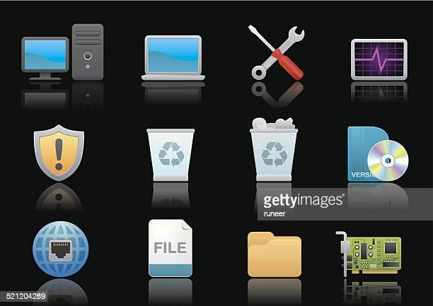 コンピューターアイコン/プレミアムブラックシリーズ - デスクトップ型パソコン点のイラスト素材/クリップアート素材/マンガ素材/アイコン素材