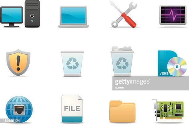 computer icons | premium matte series - desktop pc stock illustrations