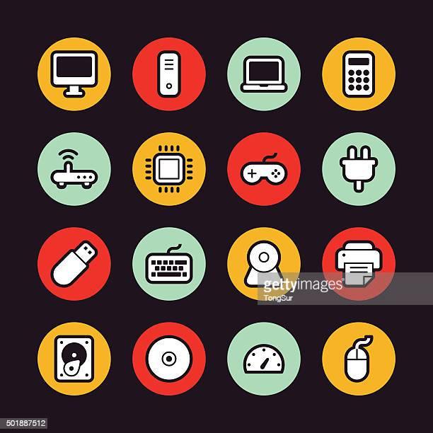 computer icons - regular outline - circle - computer speaker stock illustrations, clip art, cartoons, & icons