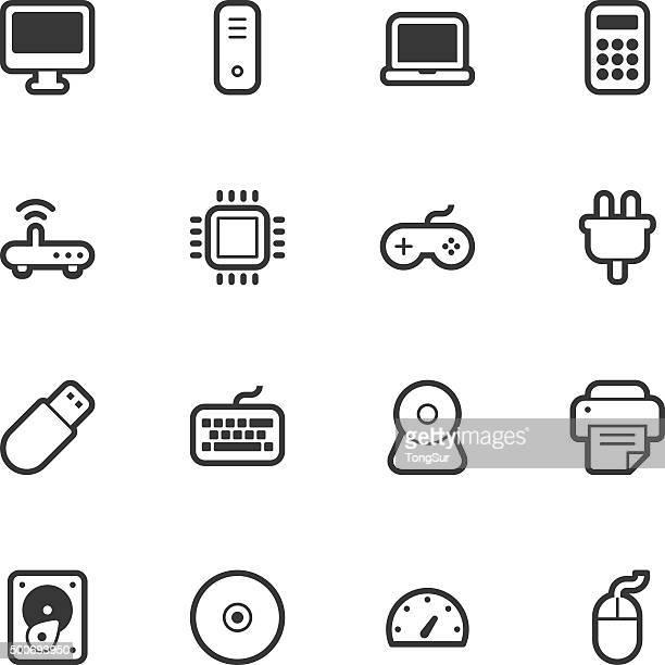 computer icons - regular outline - usb stick stock illustrations, clip art, cartoons, & icons