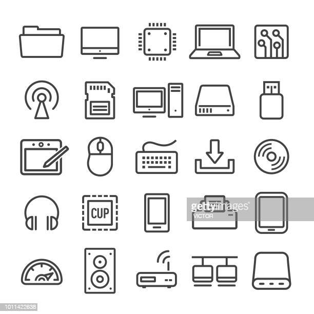 computer icons set - smart line series - computer keyboard stock illustrations