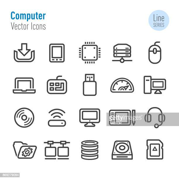 computer icons - vector line series - hard drive stock illustrations, clip art, cartoons, & icons