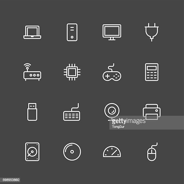 computer icons - white series - computer speaker stock illustrations, clip art, cartoons, & icons