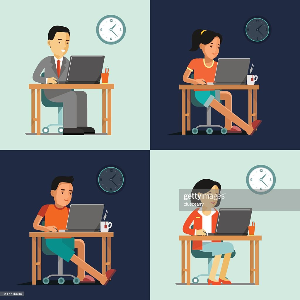 Computer internet work concept with people in office and home