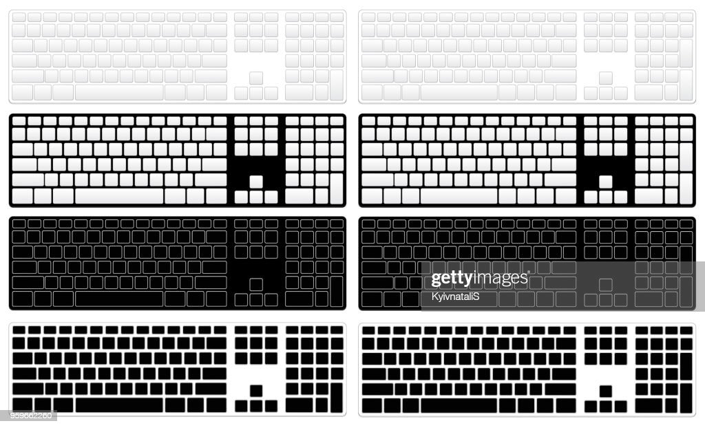 Computer keyboard options without letters and symbols in black and white colors for apple and microsoft.