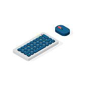 Computer keyboard vector flat icon.