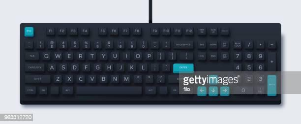 ilustraciones, imágenes clip art, dibujos animados e iconos de stock de teclado de ordenador - teclado de ordenador