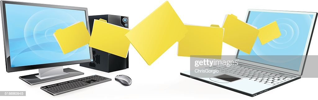 Computer laptop folder transfer