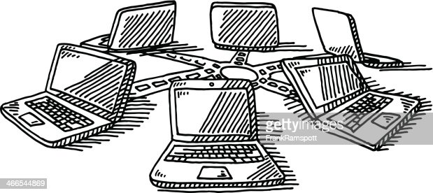 computer laptop network drawing vector art