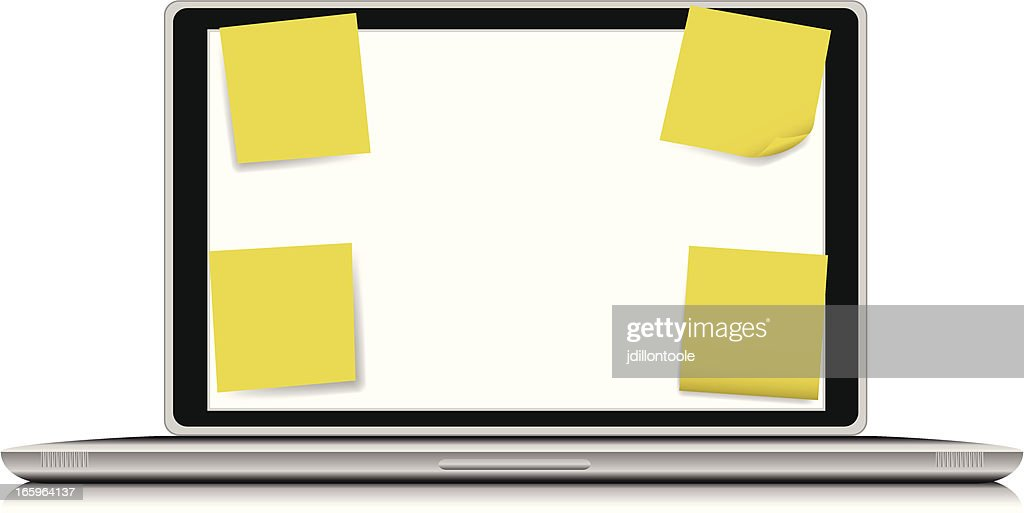 computer laptop with sticky notes vector art getty images rh gettyimages com Laptop Vector Computer Folder Vector