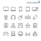 Computer line icons. Editable stroke. Pixel perfect.