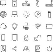 Computer line icons on white background