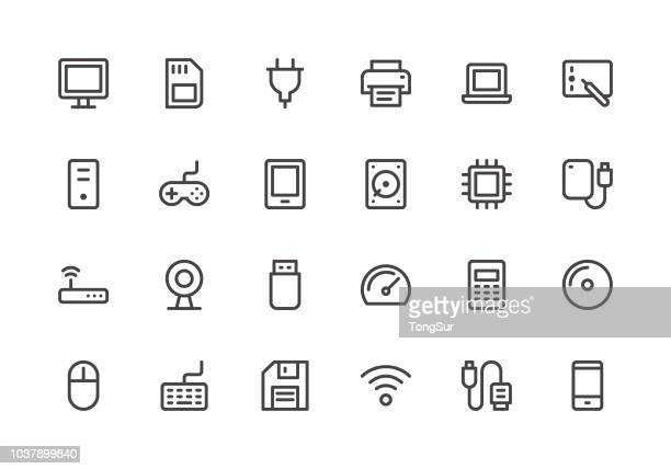 computer - line icons - usb cable stock illustrations, clip art, cartoons, & icons