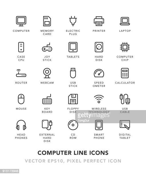 computer line icons - electric plug stock illustrations