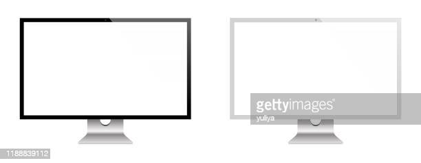 computer monitor and flat screen tv in black and silver color with reflection, realistic vector illustration - projection screen stock illustrations