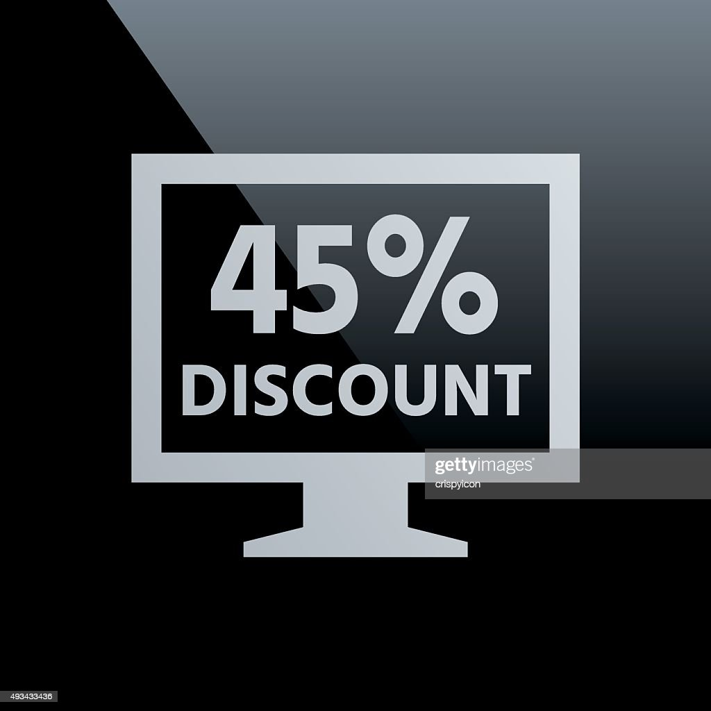 Computer Monitor icon on a black background. - CoreSeries : stock illustration