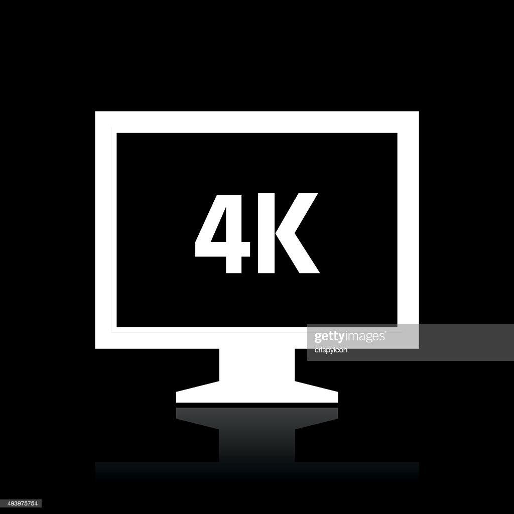 Computer Monitor icon on a black background. - WhiteSeries : stock illustration