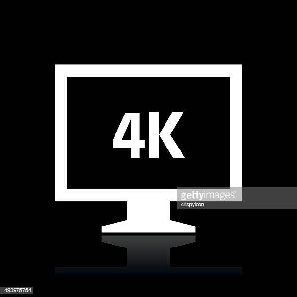 Computer Monitor icon on a black background. - WhiteSeries