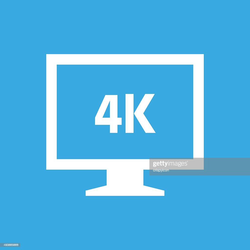 Computer Monitor icon on a blue background. - SmoothSeries : stock illustration