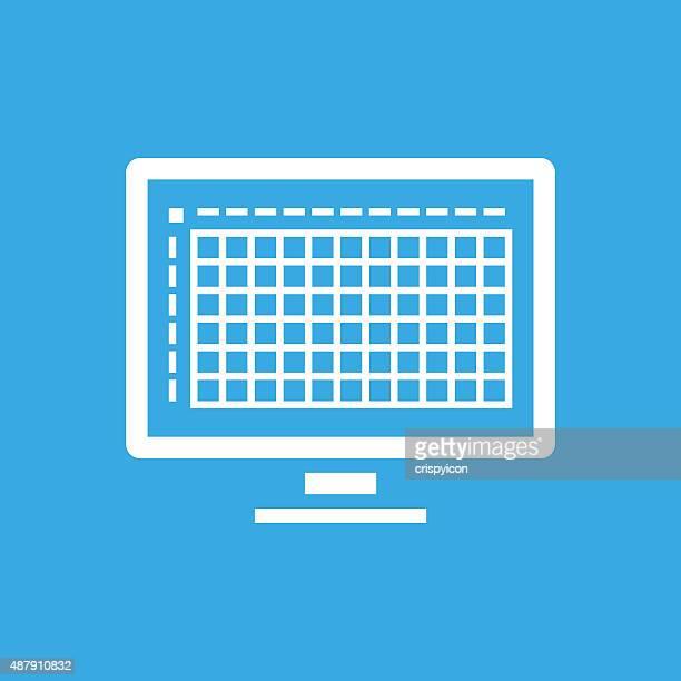 ilustrações, clipart, desenhos animados e ícones de monitor de computador em fundo azul de ícone. - livro de exercícios