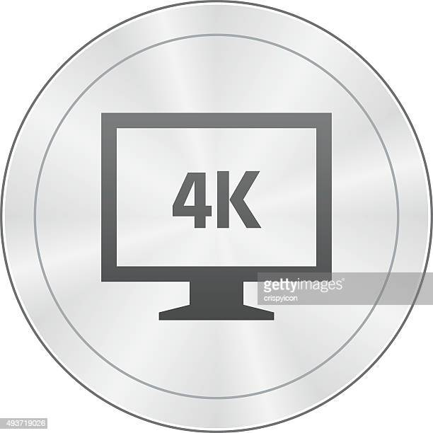 computer monitor icon on a round button. - sharpseries - ultra high definition television stock illustrations