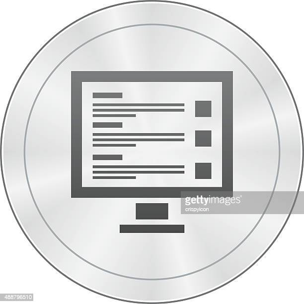 Computer Monitor icon on a round button.