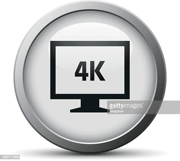 Computer Monitor icon on a silver button. - SilverSeries