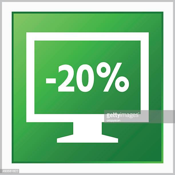 computer monitor icon on a square button. - flatseries - labeling stock illustrations, clip art, cartoons, & icons