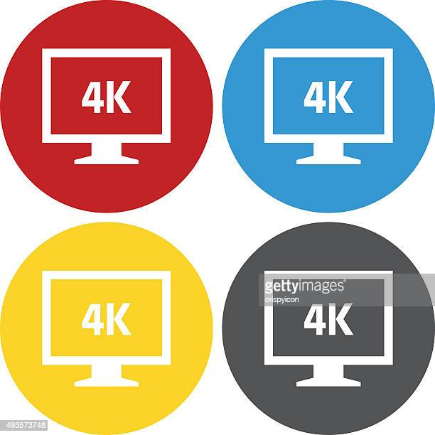 computer monitor icon on circle buttons. - circleseries - ultra high definition television stock illustrations