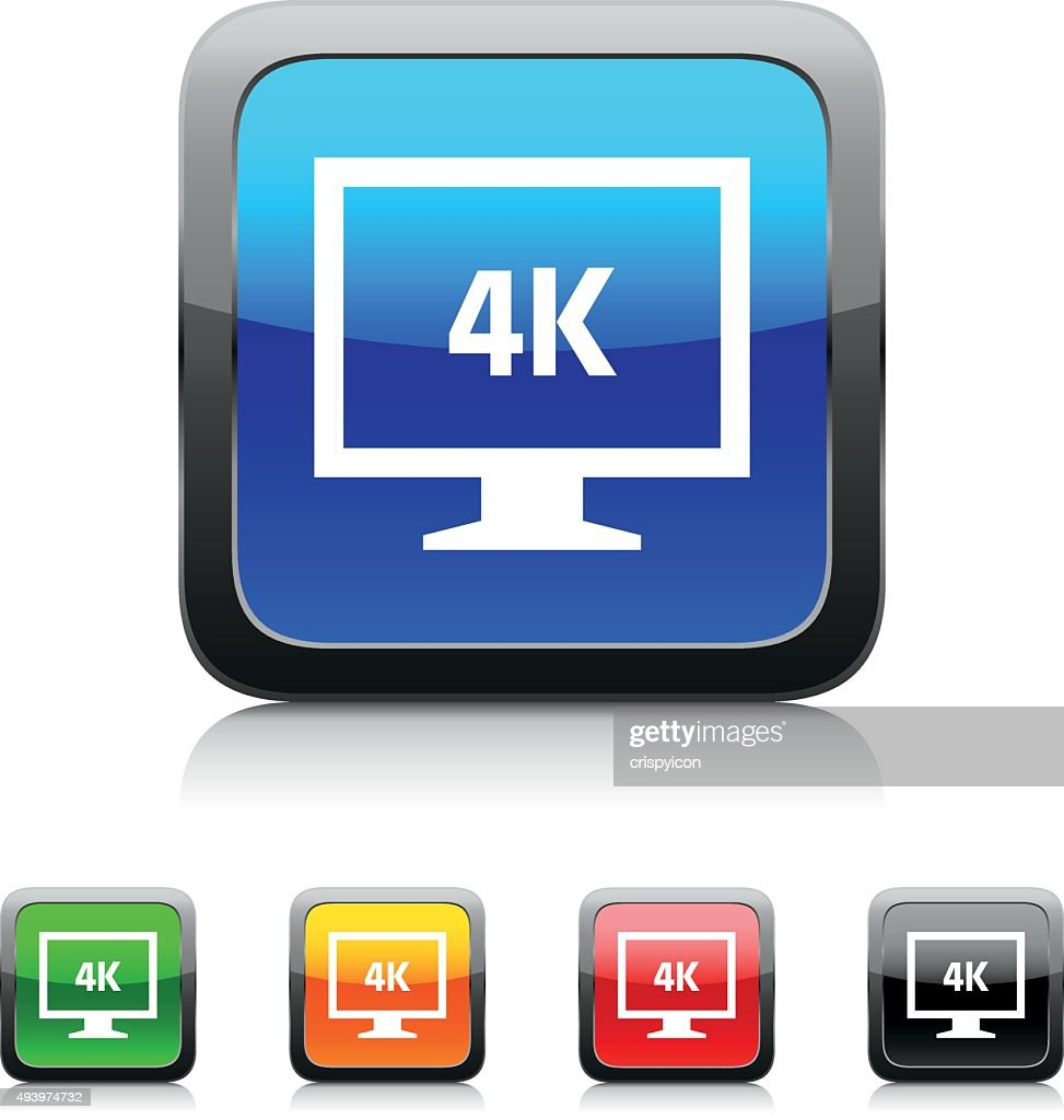 Computer Monitor icon on color buttons. - StyleSeries : stock illustration