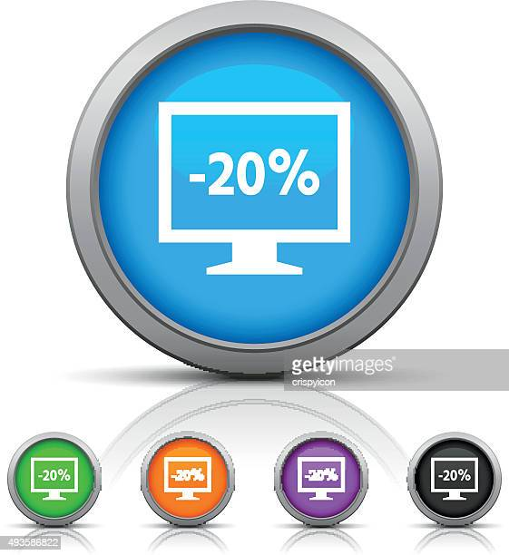 computer monitor icon on round buttons. - glossseries - labeling stock illustrations, clip art, cartoons, & icons