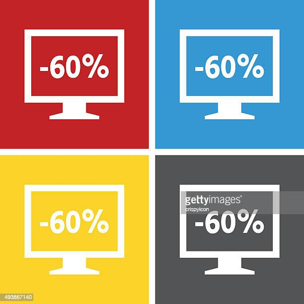 computer monitor icon on square buttons. - squareseries - labeling stock illustrations, clip art, cartoons, & icons