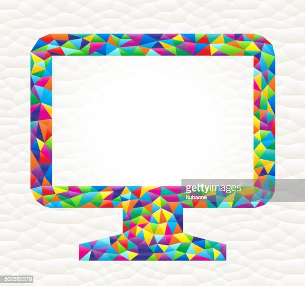 Computer Monitor on triangular pattern mosaic royalty free vector art