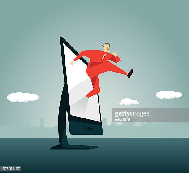 computer monitor, running, striding,stepping, action, pc, window display - stepping stock illustrations, clip art, cartoons, & icons
