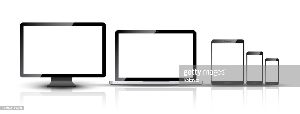 Computer monitor, smartphone, laptop and tablet pc design. Mobile phone smart digital device set