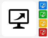 Computer Monitor with Up Arrow Icon