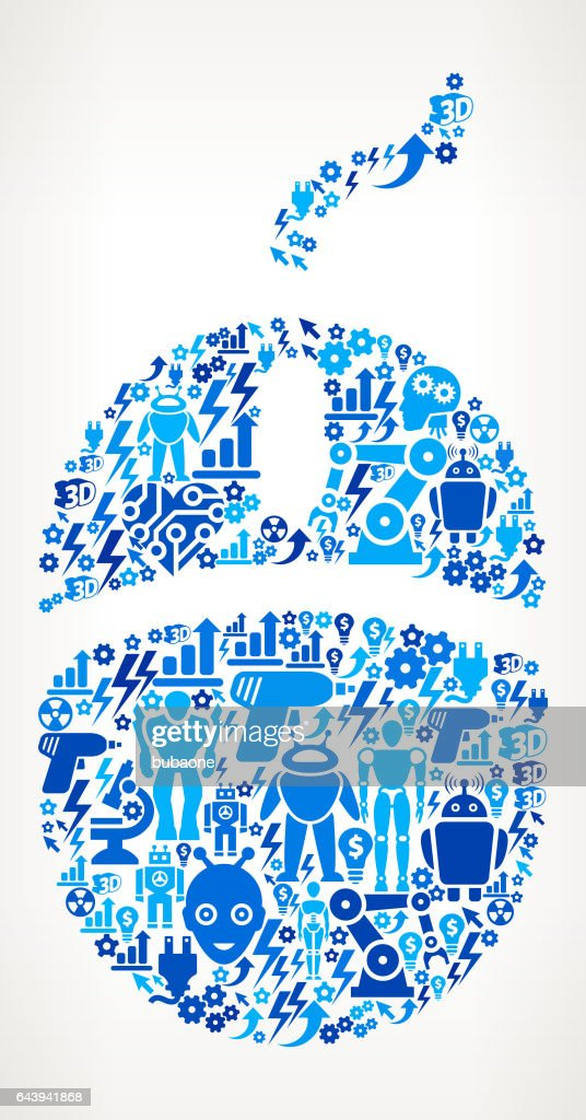 Computer Mouse Icon Robot and Robotics Automation Vector Pattern