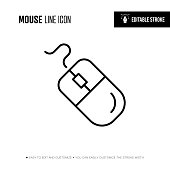 computer mouse line icon editable stroke