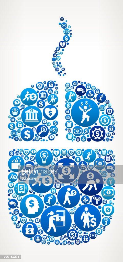 Computer Maus Geld blaues Symbol Muster Hintergrund : Stock-Illustration