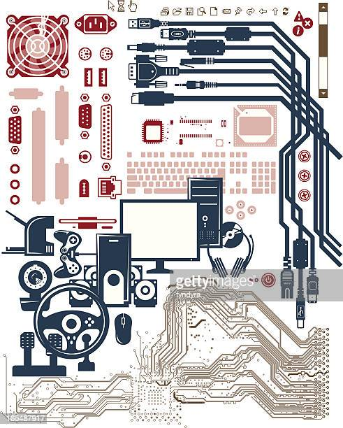 computer multimedia shapes - ethernet cable stock illustrations, clip art, cartoons, & icons