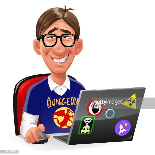 ilustrações de stock, clip art, desenhos animados e ícones de computer nerd sitting at laptop - cyberbullying