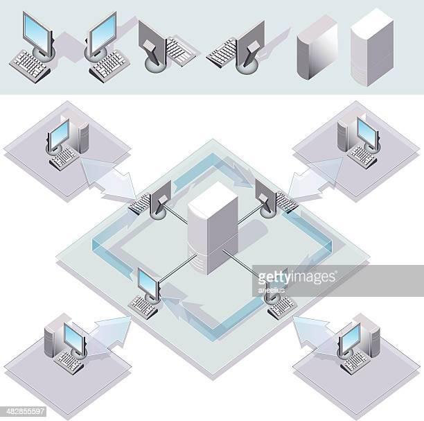stockillustraties, clipart, cartoons en iconen met computer network - vpn