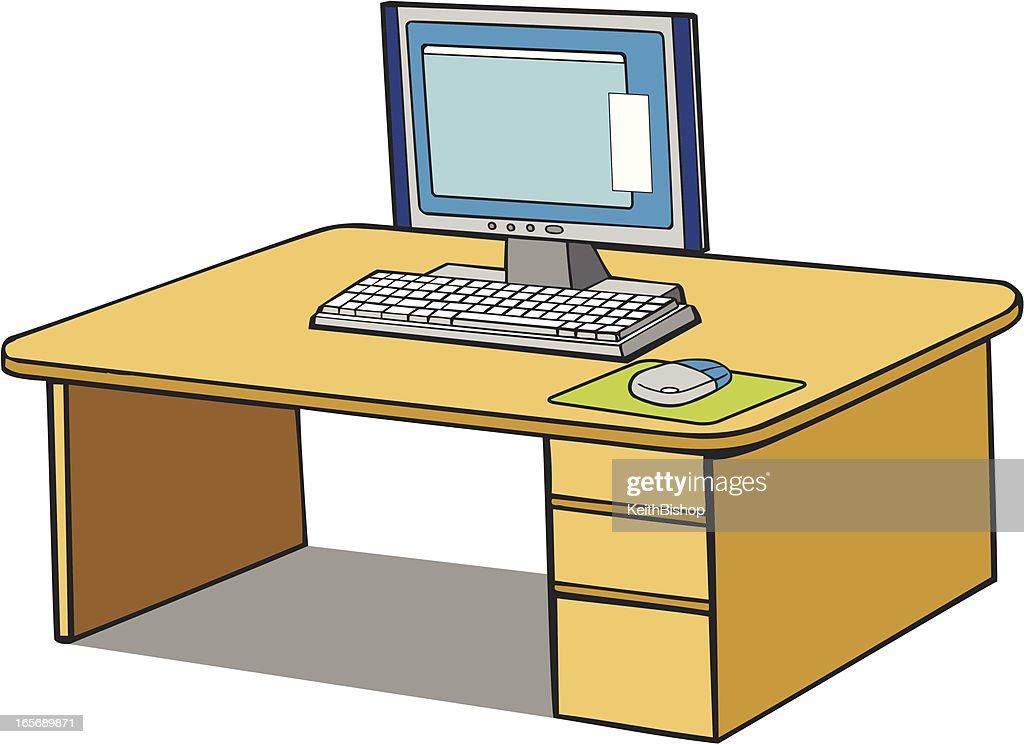 Schreibtisch büro comic  Computer Am Schreibtischcomic Vektorgrafik   Getty Images