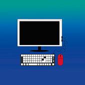 Computer on gradient background.