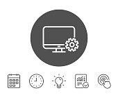 Computer or Monitor icon. Service Cogwheel sign.