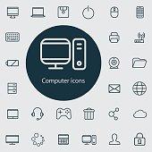 computer outline, thin, flat, digital icon set